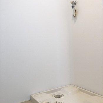 脱衣所兼洗濯機置場といったところでしょうか。※写真はクリーニング前のものです。