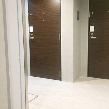 共用部は少し入り組んでいて、扉を開けた瞬間に鉢合わせるなんてことがなさそう。