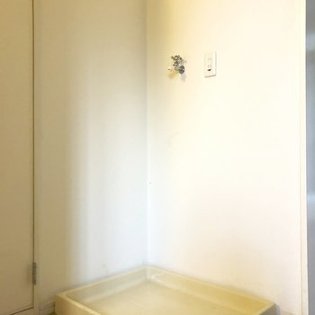 洗濯パンはトイレの横にあります。(※クリーニング前の写真です)