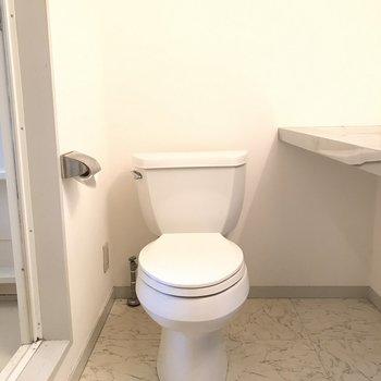 扉を開けるとすぐトイレ ※写真はクリーニング前のものです。