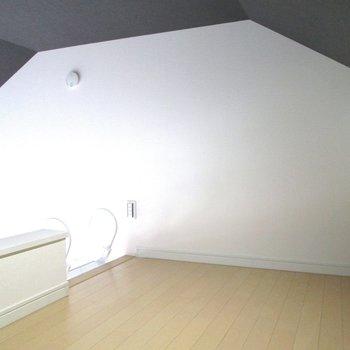 落ち着いた色合いの天井。ロフト空間を有効に。