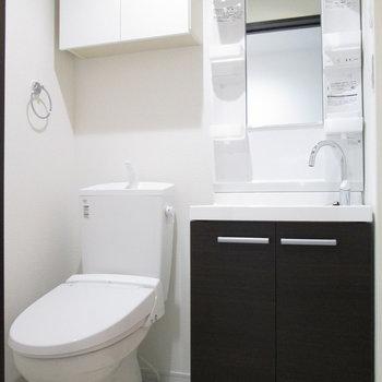 脱衣所にはトイレと洗面台がギュッと。