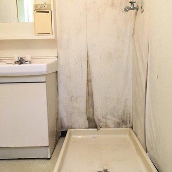 洗濯機は洗面台横に!※写真は2階の同間取り角部屋、清掃前のものです