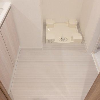 脱衣所に来ました。洗濯機置き場はここにあります♪