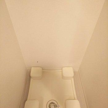 洗濯機置場は洗面台の向かいにあります。便利な位置取りが嬉しい。※写真は3階の同間取り別部屋のものです