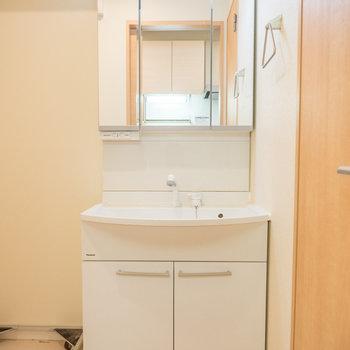 鏡の内部にも棚があるんですよ※写真は2階の反転間取り別部屋のものです