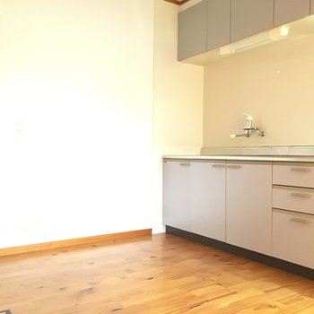 キッチンの後ろに広々なので、食器棚も置こうかな?