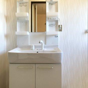 どっしりとした洗面台・・・!※写真は1階の同間取り別部屋のものです。