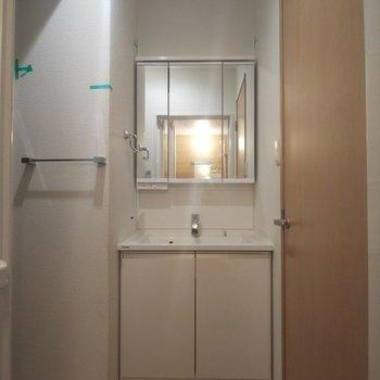 収納も備えた洗面台が嬉しい!※写真はクリーニング前のものです
