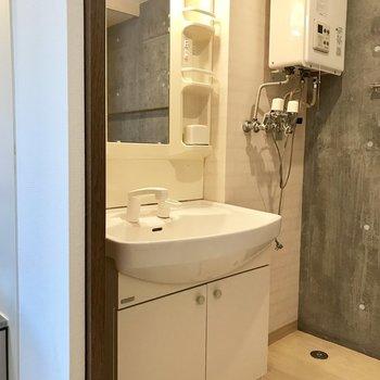 シャンドレで大きめの洗面台※写真は同間取り別部屋です