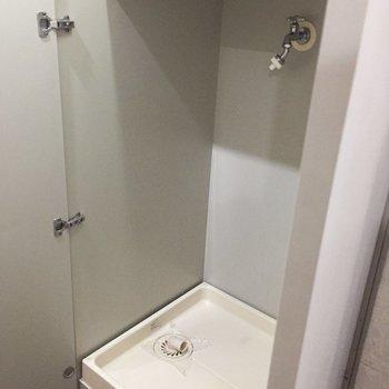 洗濯機は廊下の収納の真ん中の扉です。