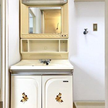 昭和レトロな洗面台♩お隣には洗濯機が置けます。
