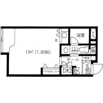 1R、窓がひとつのシンプルなお部屋です