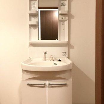 使いやすい洗面台です!隣にラックを置けるよ。