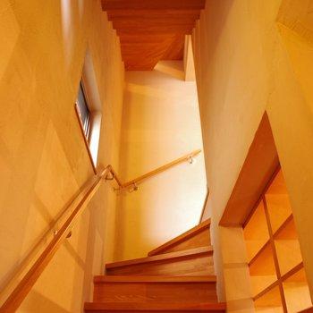 木の階段。