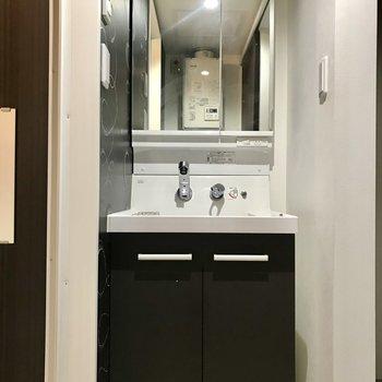 洗面台の鏡は大きめ。