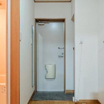 鏡付きの玄関です。