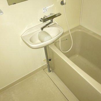 お風呂は結構広めなんです(フラッシュ撮影しています)