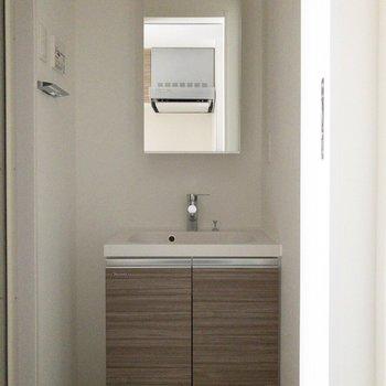 洗面所は脱衣場としても使えます!※写真は前回募集時・通電前のものです