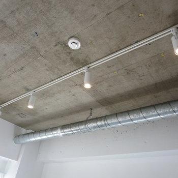 打ちっぱなしの天井とライティングレールの組み合わせがかわいい