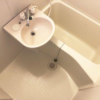 洗面台の前は、脱衣所のように使うこともできます。
