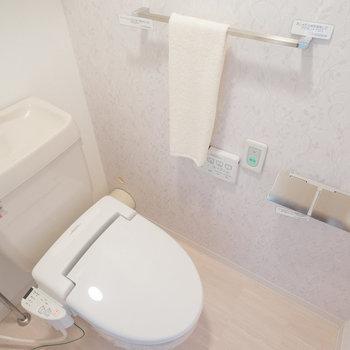 トイレはウォシュレット付き!タオル掛けやペーパーホルダーもいい感じです