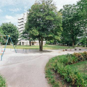 団地の敷地内には、シンボルツリーとちょっとした遊具のある公園も