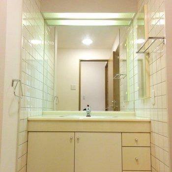 洗面台でっか!※写真は3階の同間取り別部屋のものです