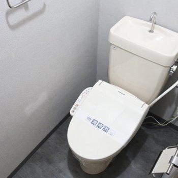 トイレはウォシュレットありです。また、グレーカラーでシックな雰囲気に