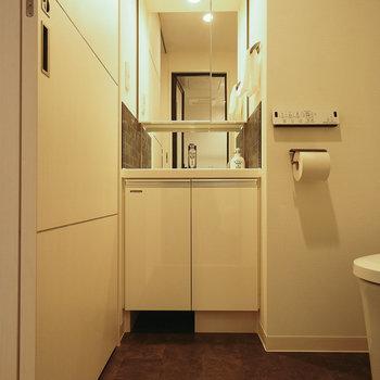 トイレと洗面所は同じスペースなので脱衣所も広々と
