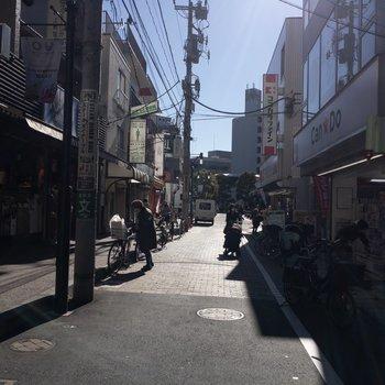 こんな感じの駅前商店街に面してます。