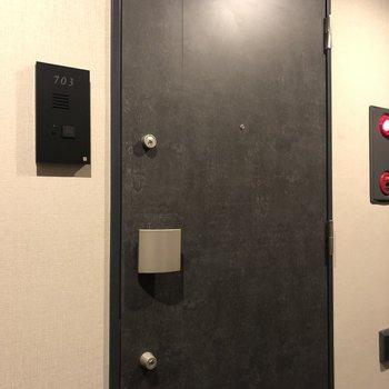 玄関扉はシックな色合い。
