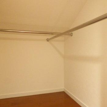 【ロフト】向かいにはハンガーパイプが2列!ジャケットかけちゃいましょ〜※写真は2階の同間取り別部屋のものです