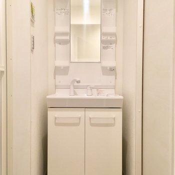 サニタリー正面に洗面台。収納もばっちり。
