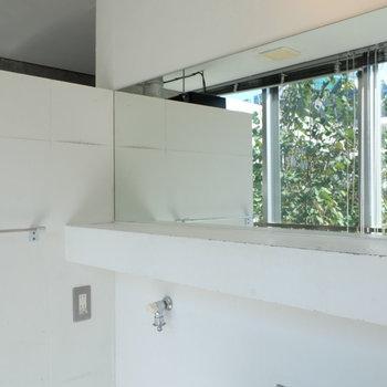 鏡から見える緑※写真は同じ間取り3階別部屋のものです