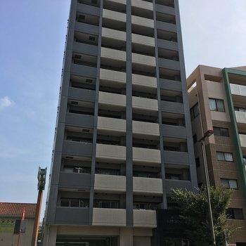 箱崎駅から徒歩2分、すらりとしたマンションです。