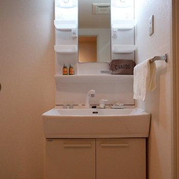 収納力のある洗面台。※家具はサンプルです
