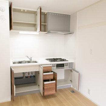 収納力もOK。横に冷蔵庫も置けそうです。