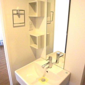 洗面台は立派です!※写真は5階の同間取り別部屋のものです。