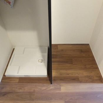 向かいは冷蔵庫スペースと洗濯機置場!