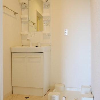 脱衣所に独立洗面台と、洗濯機置場。