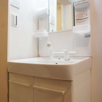 洗面台も収納おおめ!※写真は1階の同間取り別部屋のものです