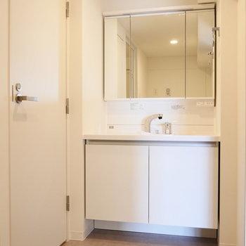 ゆったり脱衣所に、独立洗面台。 ※写真は同階反転間取り別部屋のものです