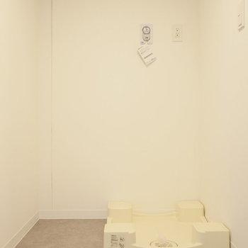 振り返って、洗濯機置場。 ※写真は同階反転間取り別部屋のものです