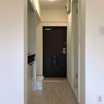 お部屋から玄関を見てみると、