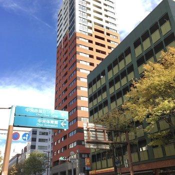 大通り沿いに建つ24階建てのタワーマンション。