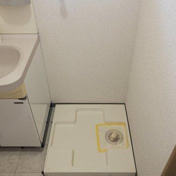 洗面台の横には洗濯機置場が。※写真は2階の同間取り別部屋のものです