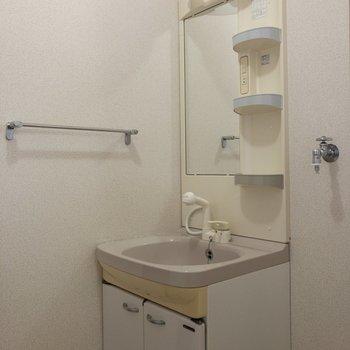 洗面台は収納が多くて嬉しい。※写真は2階の同間取り別部屋のものです