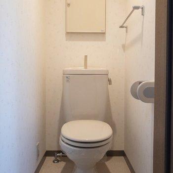 トイレにも収納スペースが。ペーパーやタオルがしまえそう。※写真は2階の同間取り別部屋のものです