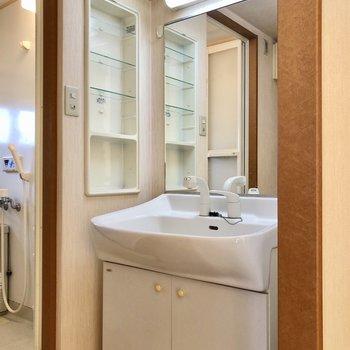 脱衣所に鏡の大きな洗面台と、(※写真は4階の同間取り別部屋、清掃前のものです)